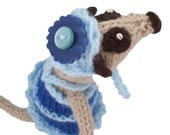 handknitted collectible Meerkat in blue Handmade in UK ideal gift for the budding Project Runway designer