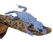 knitted lizard, spotty gecko, handmade reptile, weird plush