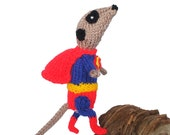 Superman Meerkat Handmade in UK in bright scarlet red, royal blue and sunshine yellow