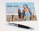 Saucy seaside mermaid, card, Hello Sailor, naughty but nice, romantic, humor, greetings