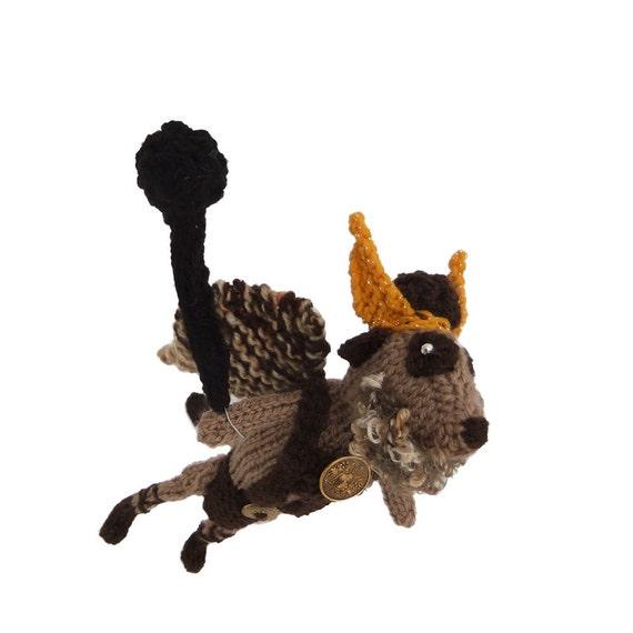 Scifi superhero animal, Prince Vultan Meerkat, handknitted Flash Gordon sidekick meercat