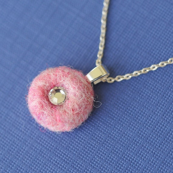 Pink Swarovski Crystal Needle Felted Wool Necklace