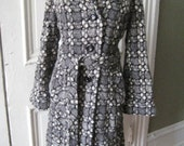 Vintage Plaid Wool Trench Coat  .free shipping.