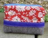Tweed, red and purple pouch
