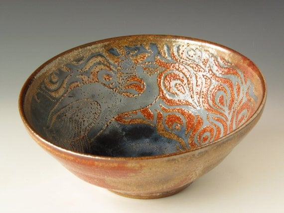 blue shino peacock feather and fire color bowl