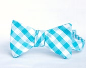 teal gingham bow tie & pocket square combo- custom listing for Curt