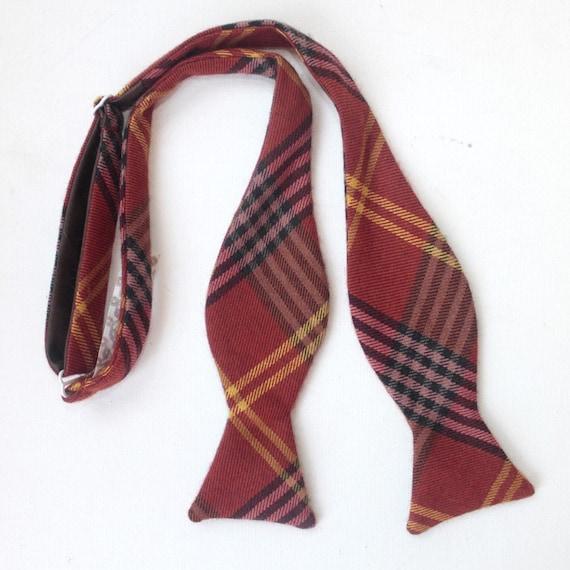 rusty plaid freestyle bow tie