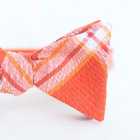 black friday/cyber monday sale-red-orange plaid freestyle bow tie