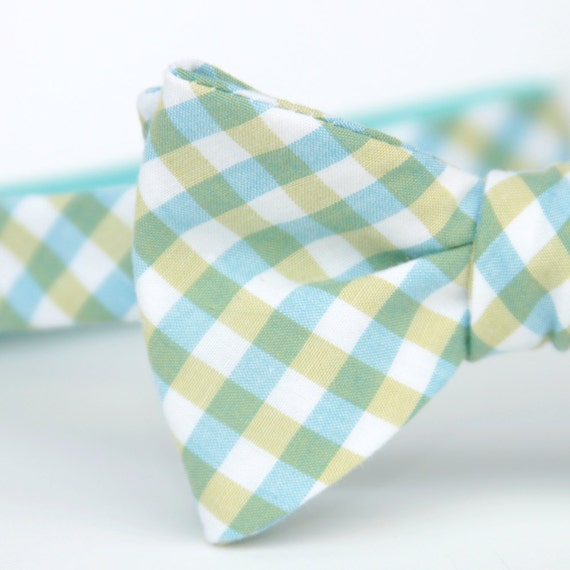 black friday/cyber monday sale-freestyle bow tie in blue and green plaid