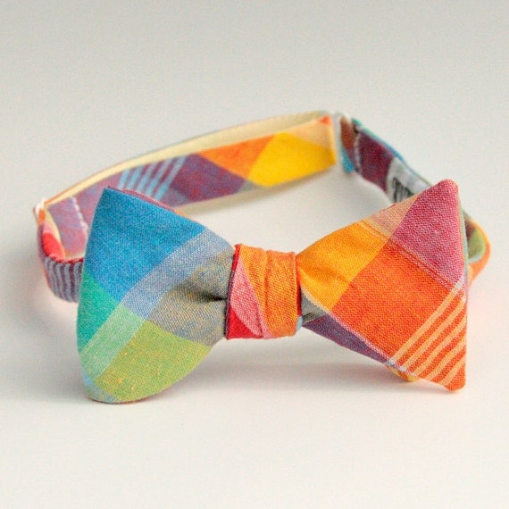 rainbow madras bow tie