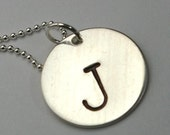 Silver Initial Necklace - RAE Personalized Necklace with Monogram/Initial/Letter Stamped by E. Ria Designs