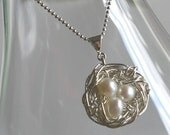 Sterling Silver Pearl Nest Necklace - FEATHER YOUR NEST by E. Ria Designs