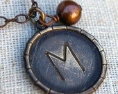 Initial Necklace with Pearl, MARIA Bamboo Vintage Antiqued Brass Initial, Monogram Necklace by E. Ria Designs