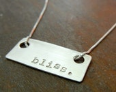 Personalized Name Necklace - LIBBY Hand Stamped Sterling Silver Bar Necklace by E. Ria Designs