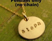 BESS Half-Inch Hand Stamped Gold Fill Pendant/ Charm (no chain) by E. Ria Designs