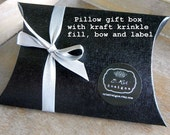 GIFT BOX for gift-giving, black linen finish paper pillow, kraft fill, silver ribbon and label