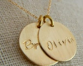 Gold Double Charm Name Necklace, Hand Stamped Gold Filled Two Charm Letter Necklace CATHERINE DUO by E. Ria Designs