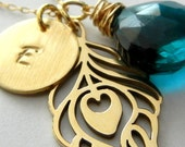 Gold Initial Necklace, Personalized Peacock Feather Teal Stone Charm Necklace, PEACOCK PRETTY by E. Ria Designs