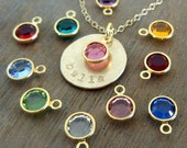 Birthstone Necklace   Personalized Gold Name Necklace   Custom Birth Stone Charm   14K Gold Filled Chain, Charm   E Ria Designs