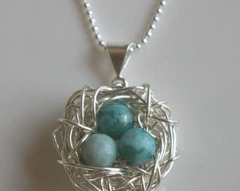 Nest Necklace in Sterling Silver, Turquoise Jasper Eggs by E. Ria Designs