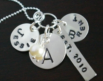 Couple, Family Personalized Necklace ANNE Sterling Silver Charm Necklace Personalized by E. Ria Designs