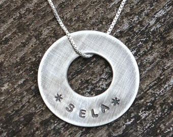 Name Necklace - TARRAH Hand Stamped Sterling Silver Washer Necklace by E. Ria Designs