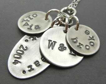 Personalized Family Necklace - SYLVIA Hand Stamped Sterling Silver Family Necklace, Mixed Charms by E. Ria Designs