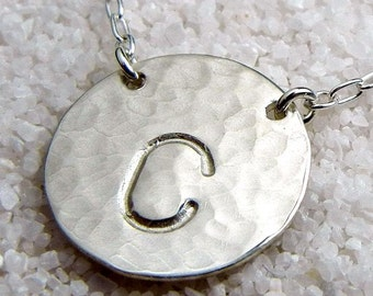 Simple Initial Necklace, Hammered Silver Letter Charm, .925 Sterling Silver by E. Ria Designs