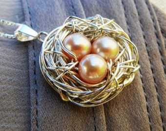 Mothers Necklace | Nest Pendant | Nest Charm Necklace | Mommy Jewelry | Sterling Silver Bird Nest | Pearl Eggs | E. Ria Designs
