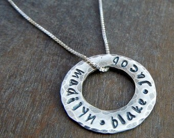 Personalized Family Necklace - Custom Hand Stamped Washer Sterling Silver Necklace - MADILYN by E. Ria Designs