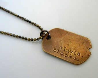Rustic Dog Tag Necklace, Vintage Style Dogtag Necklace, Personalized, Custom Dog Tag Military Style, Custom Dogtag Jewelry
