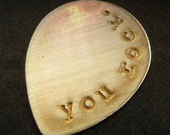 Personalized Guitar Pick | Custom Guitar Gift | Hand Stamped Guy Gift | Brass Guitar Pick | Groomsman Gift | Wedding Favor