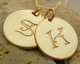 Gold Initial Necklace, Gold Letter Necklace, Gold Letter Charm Necklace, Letter Charms, Gold-Filled Pendants CALLIE DUO gold E Ria Designs