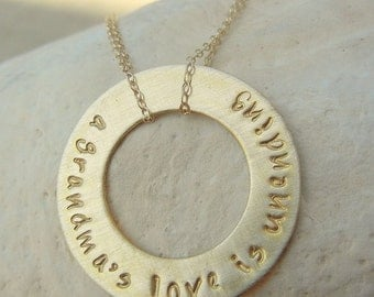 Personalized, Custom Gold Washer Hand Stamped Necklace, Double Chain, Gold Filled GRAND MOTHER by E. Ria Designs