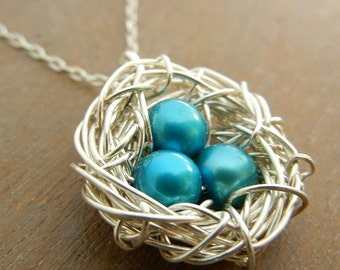 FEATHER YOUR NEST Hand Wire-Wrapped Sterling Silver Necklace, Turquoise Pearl Eggs by E. Ria Designs