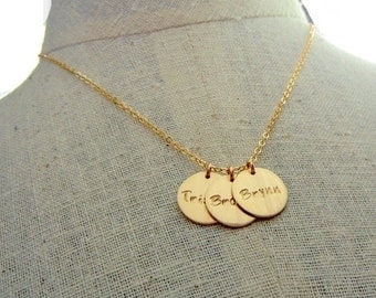 Gold Name Necklace, Gold Name Charm Necklace, Gold Name Charms, 14k GF, Personalized Charms, CATHERINE Gold Charm Necklace E. Ria Designs