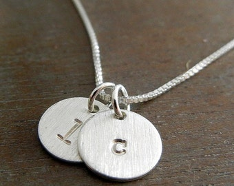 Two Charm Initial Necklace, Hand Stamped Sterling Silver Lowercase JENNA DUO Necklace by E. Ria Designs