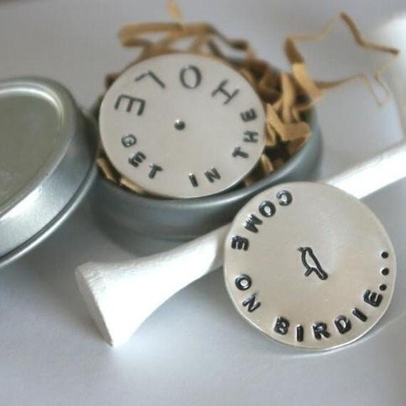 E. Ria Designs W I L L Ball Marker Sterling Silver in Gift Tin DAD MAN GOLFER