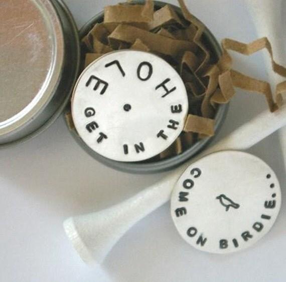 E. Ria Designs W I L L Sterling Silver Personalized Ball Marker in Gift Tin