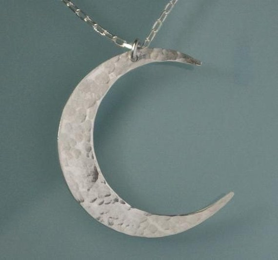 E. Ria Designs Crescent Moon Sterling Silver Hammered Necklace