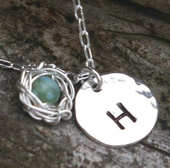 Initial & Nest Necklace - MOLLY Hand Stamped Initial, Nest Necklace, Sterling Silver by E. Ria Designs