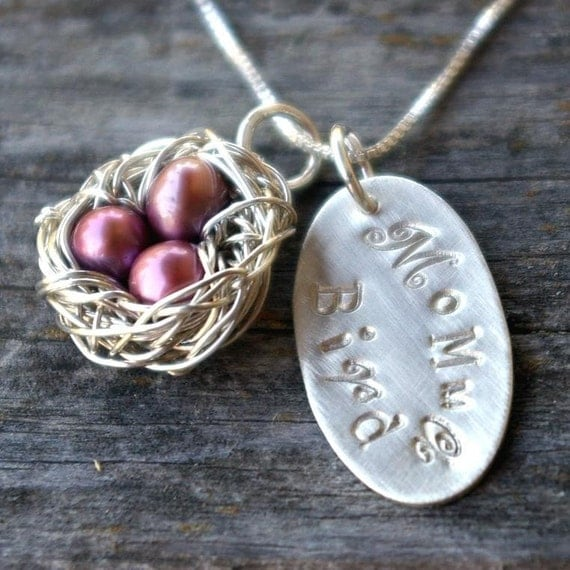Custom Mothers Necklace - Custom Nest Charm - Pearl Eggs - Silver Wire Nest - Momma Bird Charm - Hand Stamped Oval