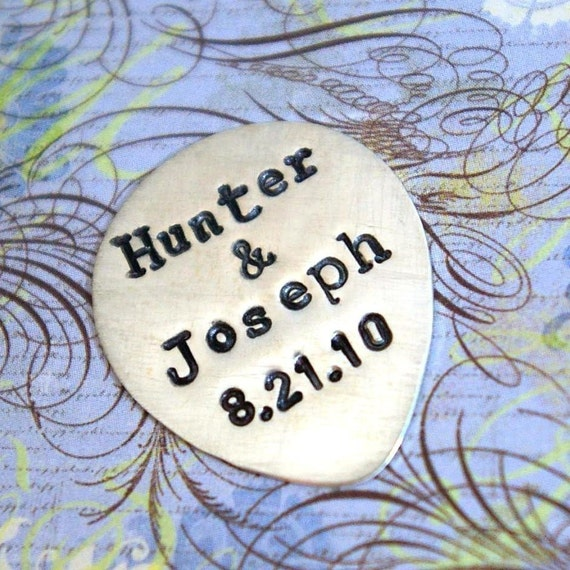 Personalized Guitar Pick - JACK Personalized Hand Stamped Sterling Silver Guitar Pick in Tin by E. Ria Designs