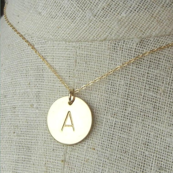 gold initial necklace gold letter necklace gold monogram