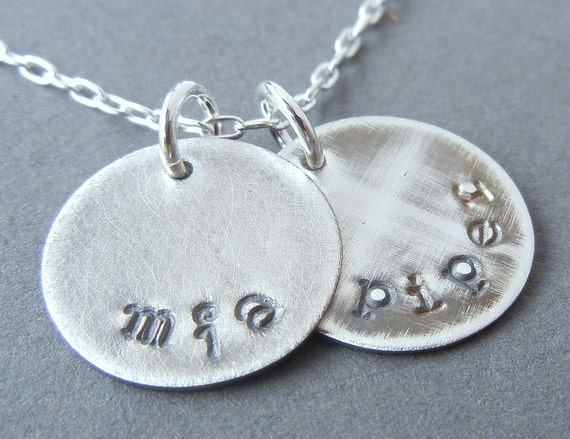 Name Charm Necklace | Rustic Charm Jewelry | Personalized Name Charms | Sterling Silver