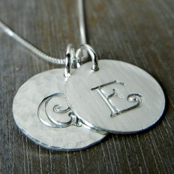 Letter Necklace | Two Charm Engraved (Stamped) Custom Pendants | Sterling Silver | Custom Jewelry by E. Ria Designs