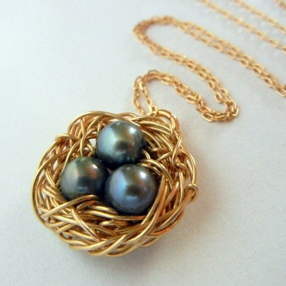 Gold Nest Necklace, Wire Wrapped Genuine Pearl Bird Nest Charm Jewelry by E. Ria Designs
