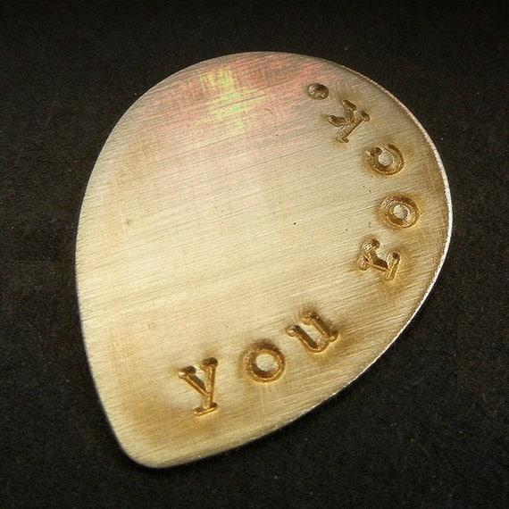 Personalized Guitar Pick | Custom Guitar Gift | Hand Stamped Guy Gift | Brass Guitar Pick | Groomsman Gift | Wedding Favor