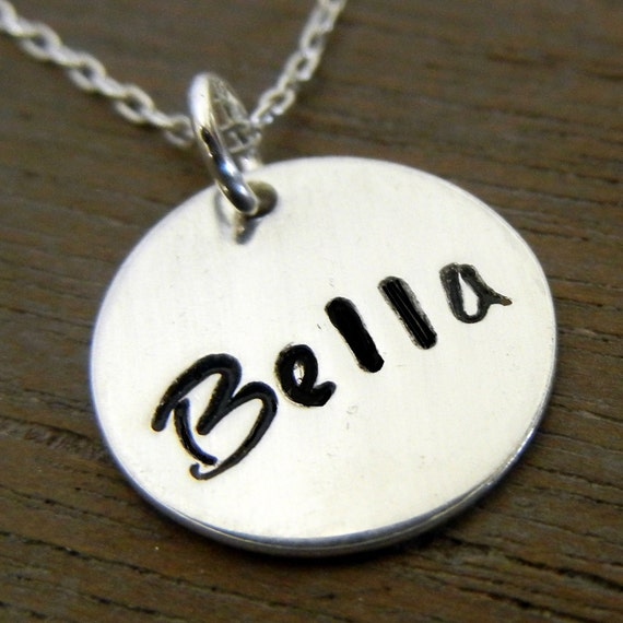 Custom Name Necklace, Personalized Hand Stamped Charm Jewelry CHLOE by E. Ria Designs