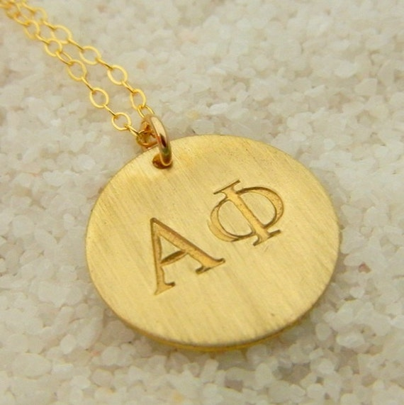 STERLING SILVER Alpha Phi - APhi Hand Stamped Charm Necklace w/ Initial Charm for lauriekent82